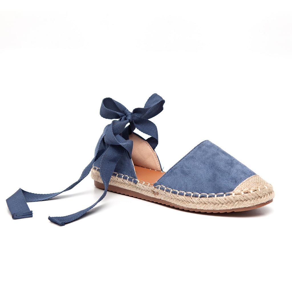 Awol Espadrille Closed To With Ankle Tie - Blue