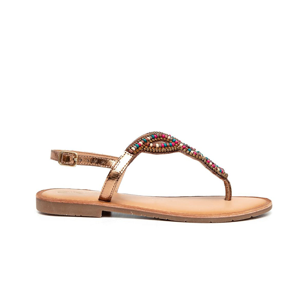 Gia Leather Beaded Sandal - Bronze Multi