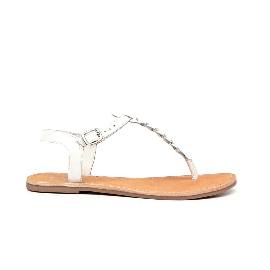 Gia Leather Plait Detail Sandal - White