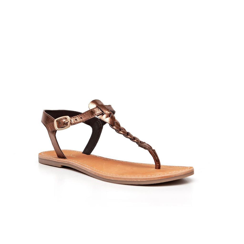 Gia Leather Plait Detail Sandal - Bronze