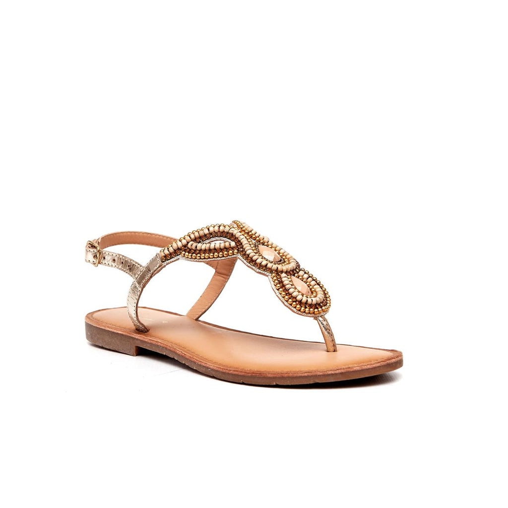 Gia Leather Beaded Sandal - Gold Multi