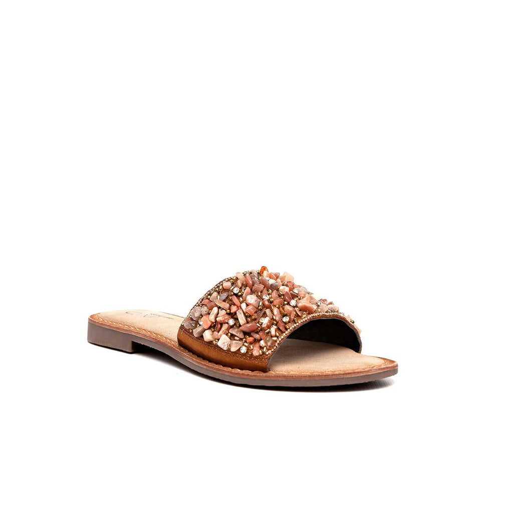 Gia Leather Embellished Sandal - Brown Multi