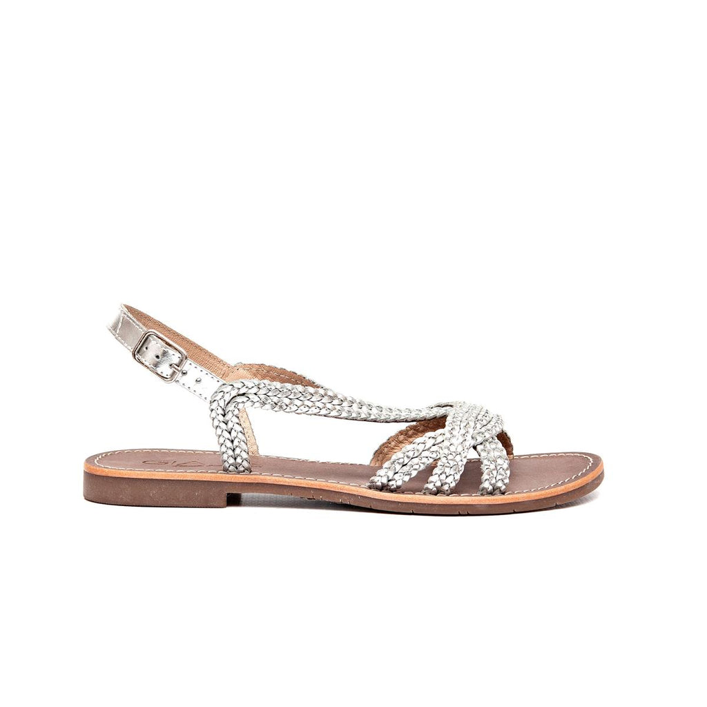 Gia Leather Weave Sandal - Silver