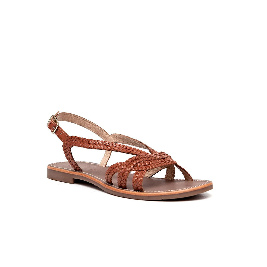 Gia Leather Weave Sandal - Tan