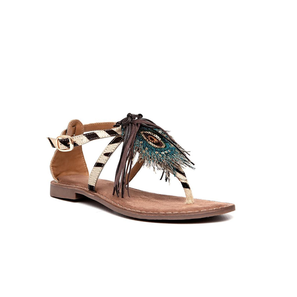 Gia Leather Tassel Flat Sandal - Zebra Multi
