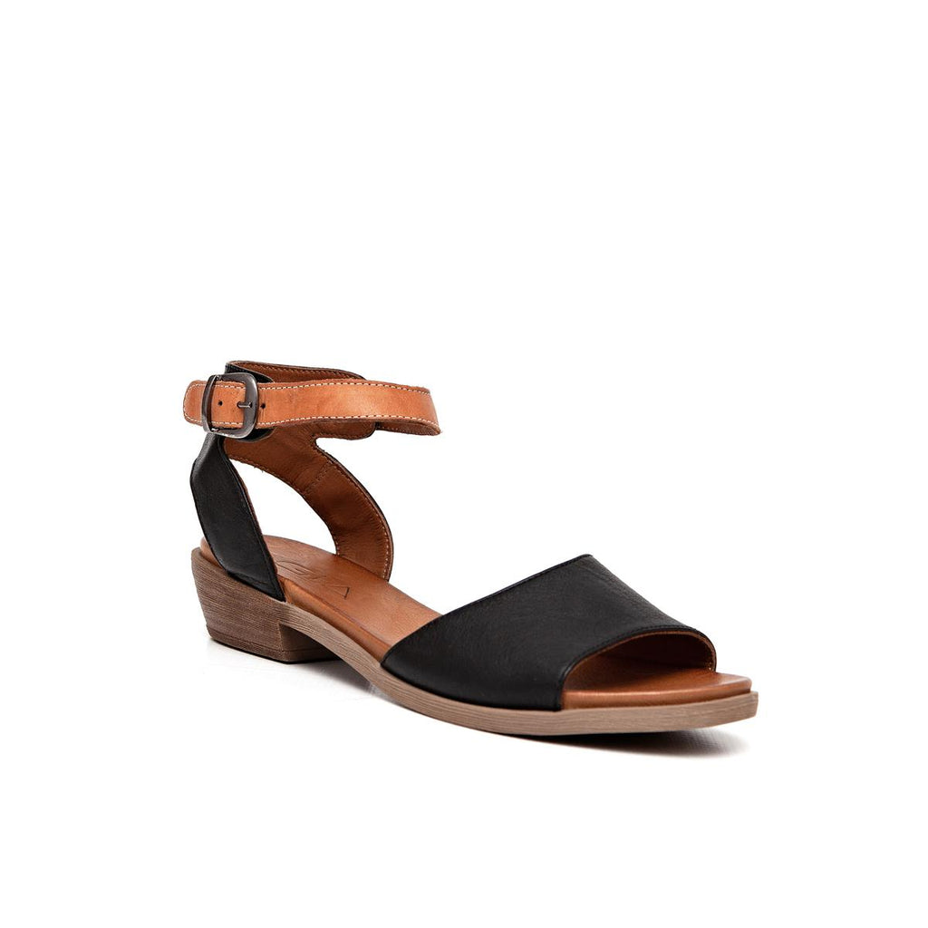 Gia Leather Low Block Heel Sandal - Black