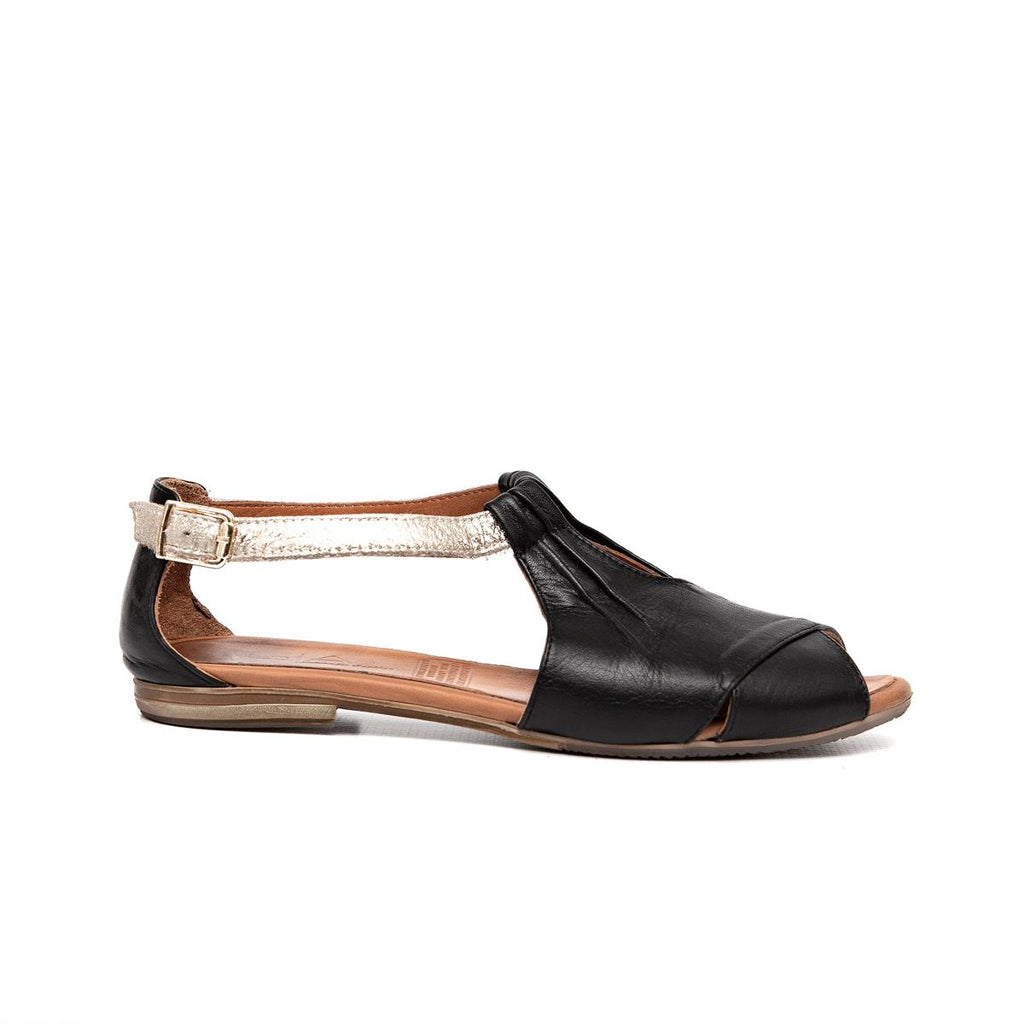 Gia Leather Peep Toe Casual - Black/Gold