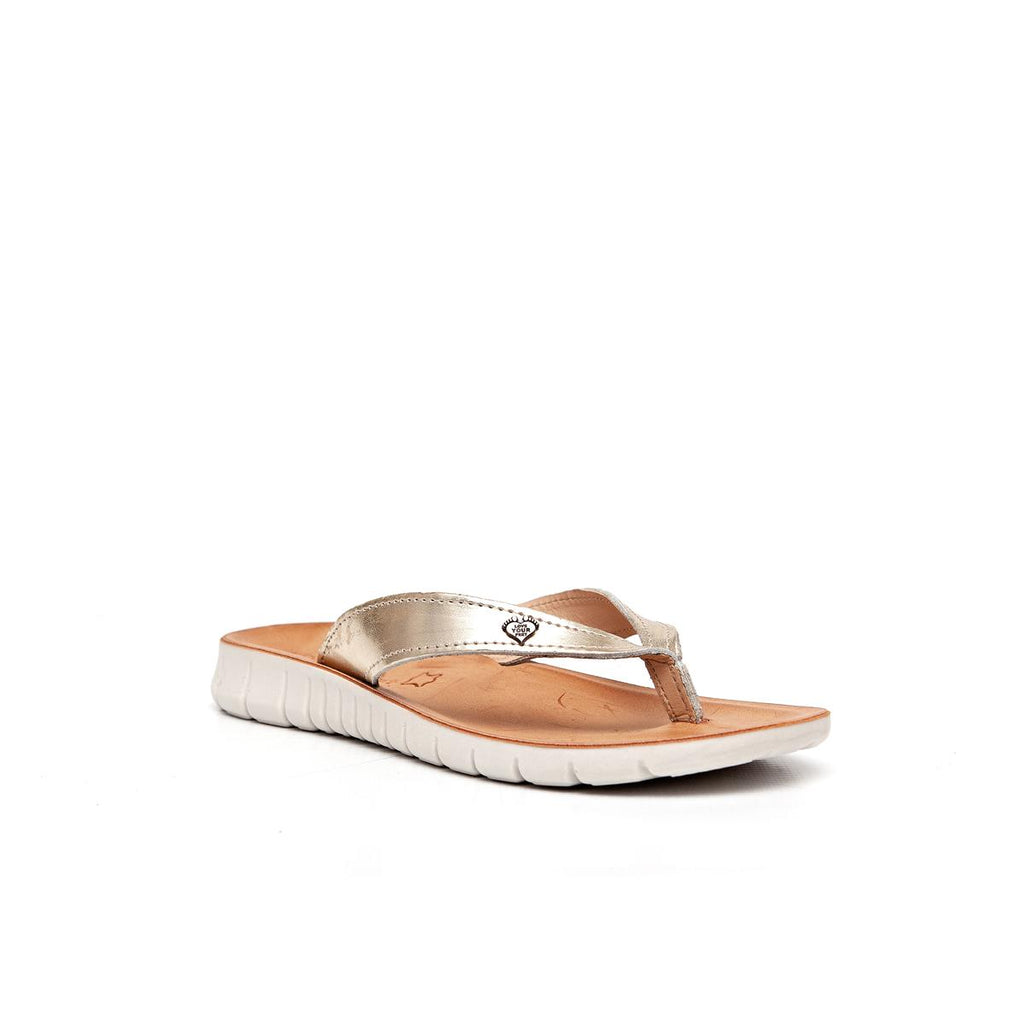 Gia by Angelsoft Leather Toethong Sandal - Gold
