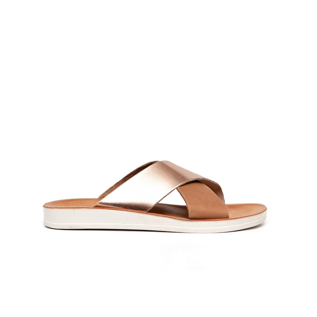 Gia by Angelsoft Leather Slide - Tan Rose Gold