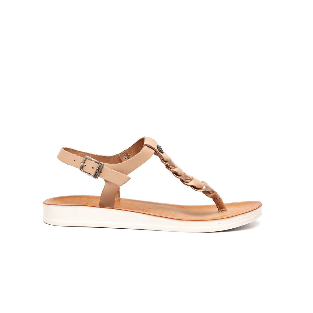 Gia by Angelsoft Leather plaited sandal - Nude Rose Gold