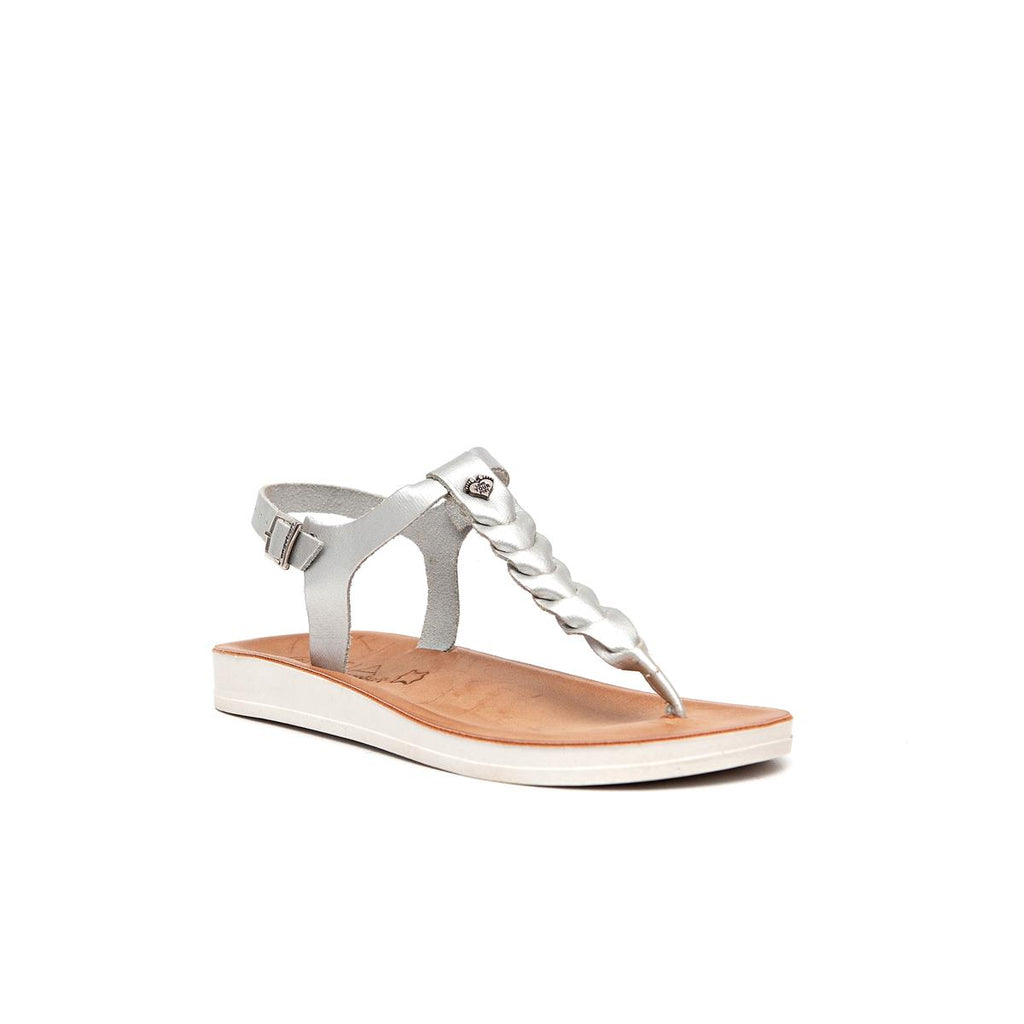 Gia by Angelsoft Leather plaited sandal - Silver