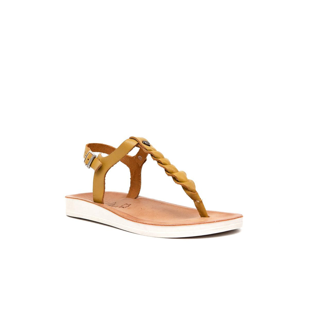Gia by Angelsoft Leather plaited sandal - Mustard
