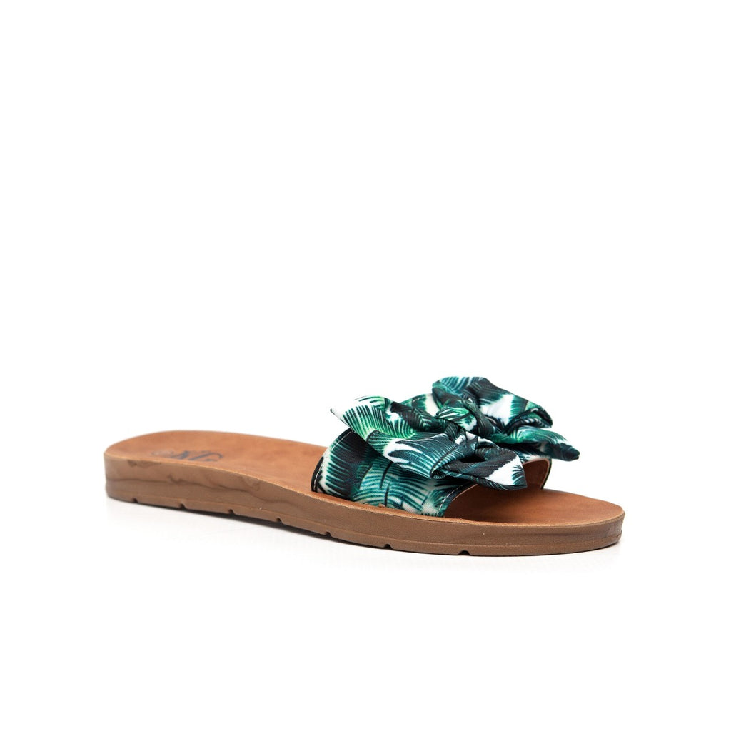 KG Printed Bow Slide Sandal - Green Multi