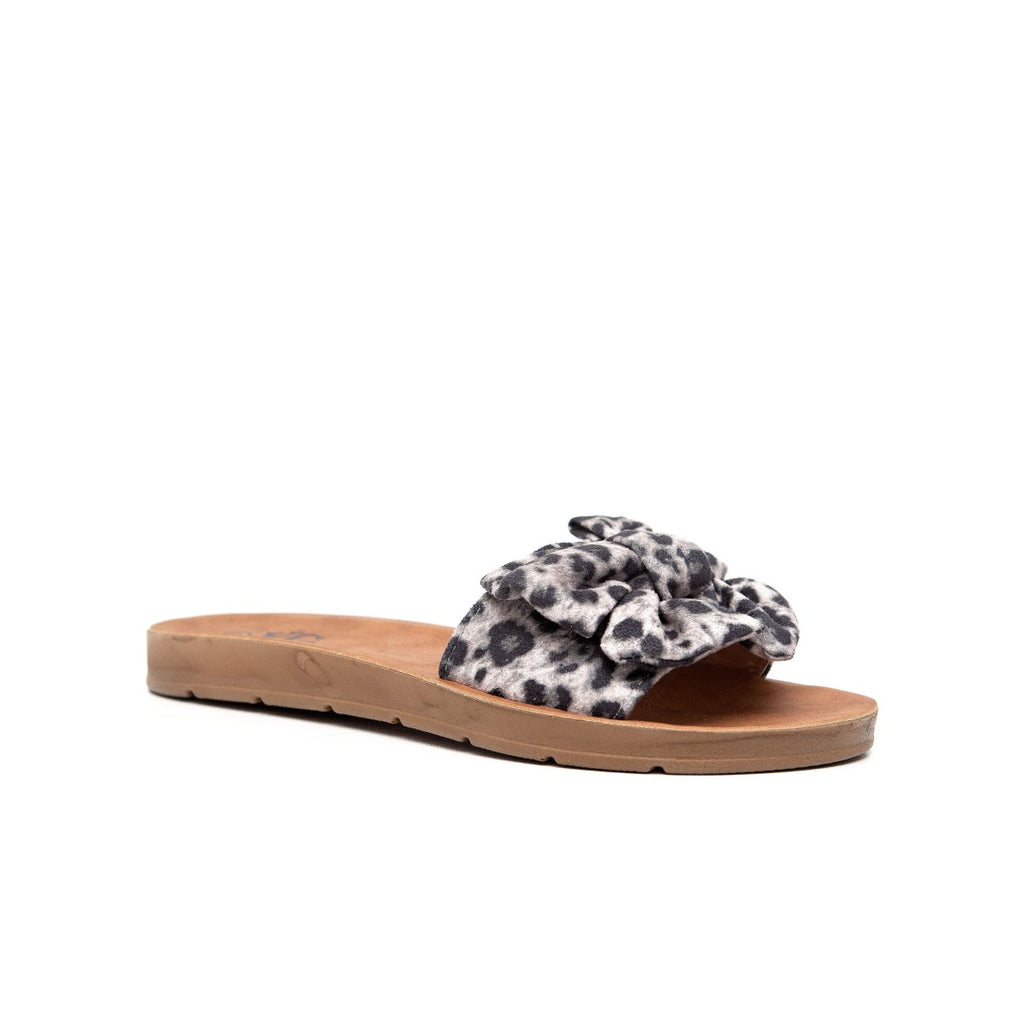 KG Printed Bow Slide Sandal - Grey Leopard