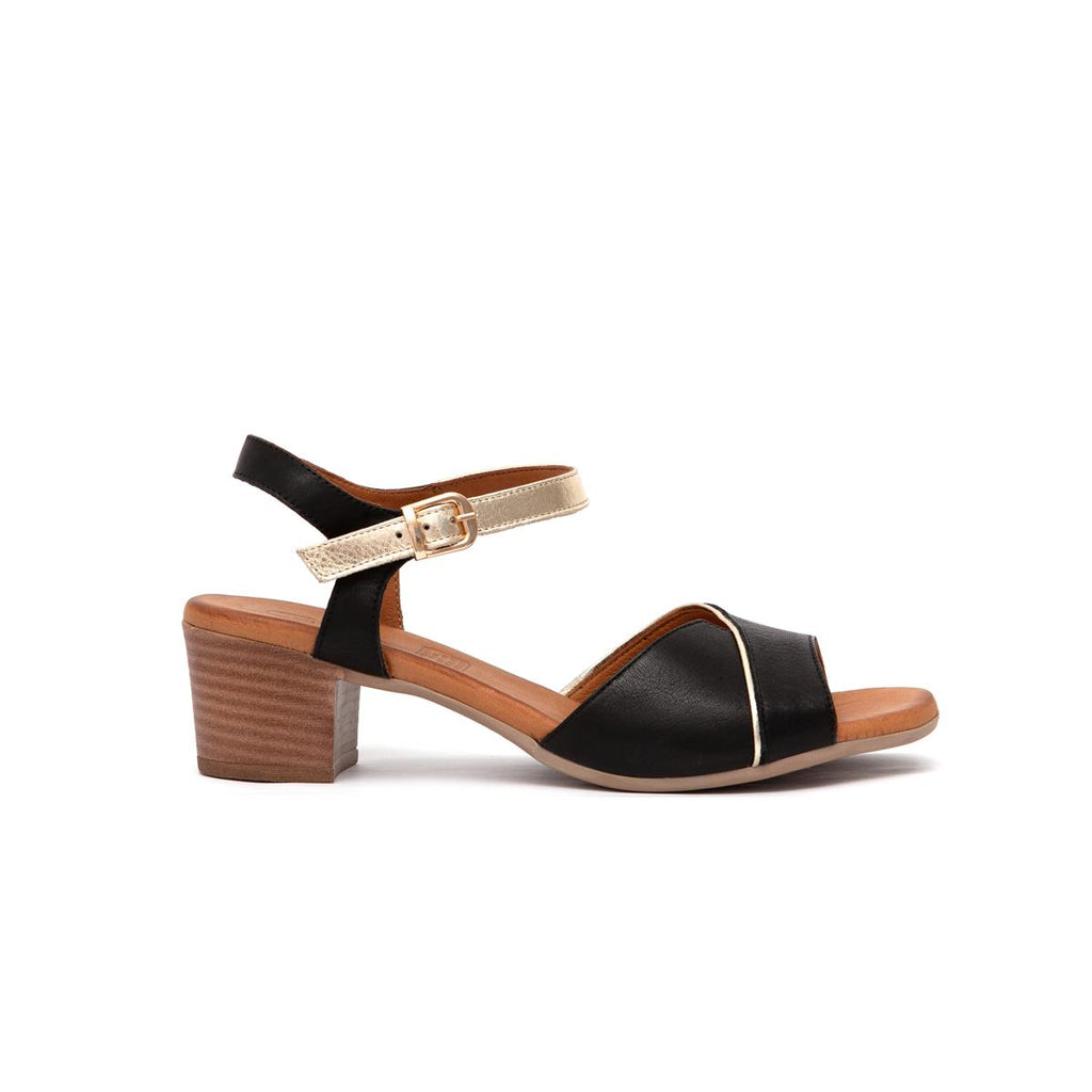 Gia Leather Block Heel Sandal - Black