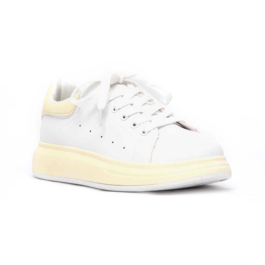 KG Lace Up Sneaker with Coloured Outsole - Shell