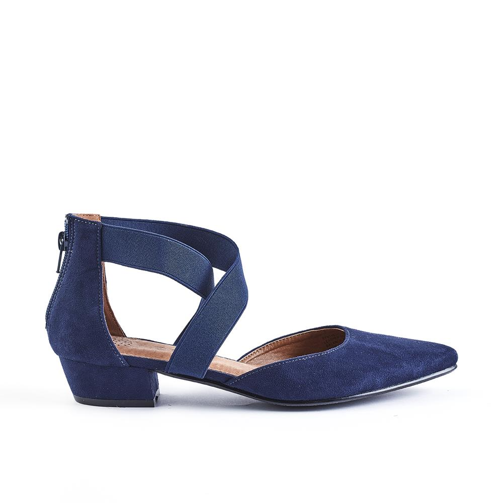 Queue Ella Pointy Elasticated Closed Back Low Block Heel - Navy