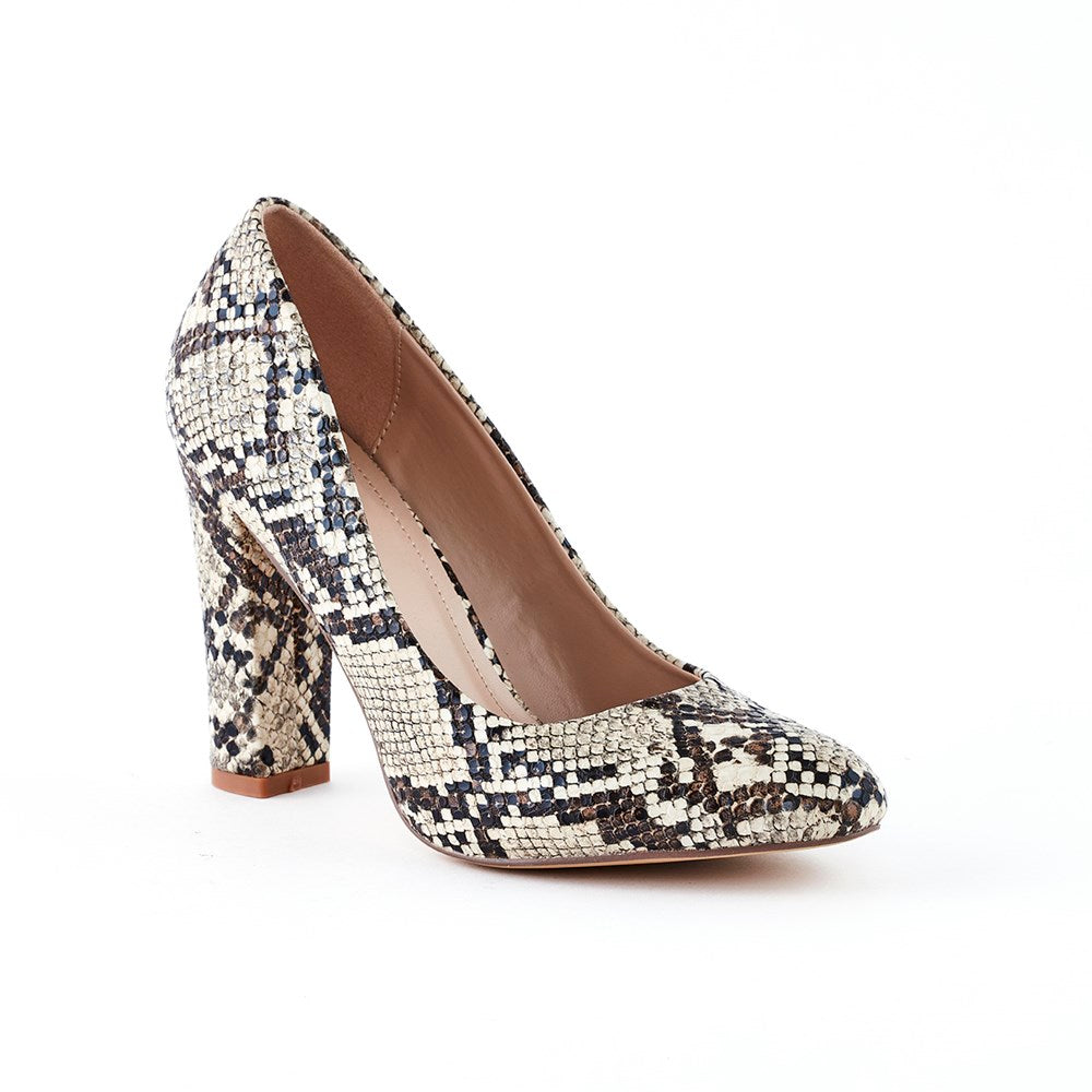 Queue Ava Block Heel Court Shoe - Snake