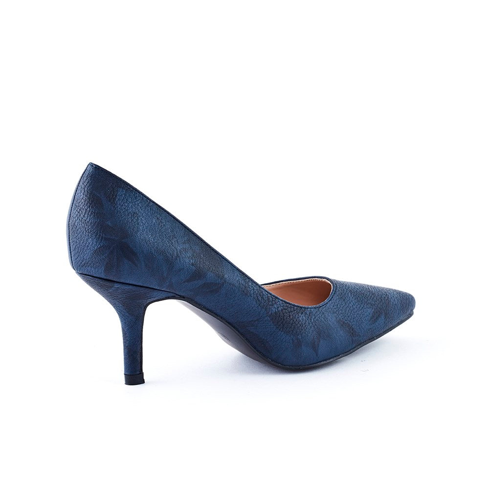 Queue Isabella Pointy Court Shoe - Navy