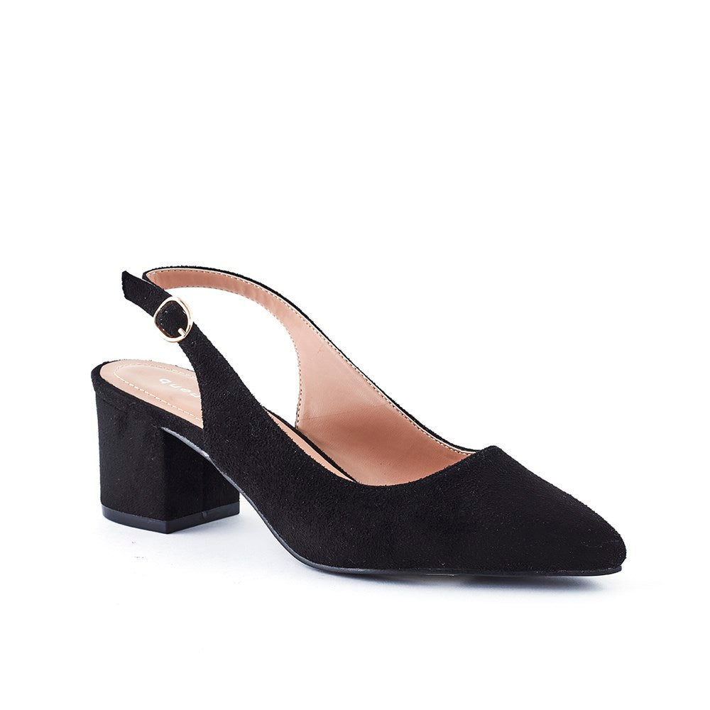 Queue Charlotte Block Heel Sling Back - Black Suede