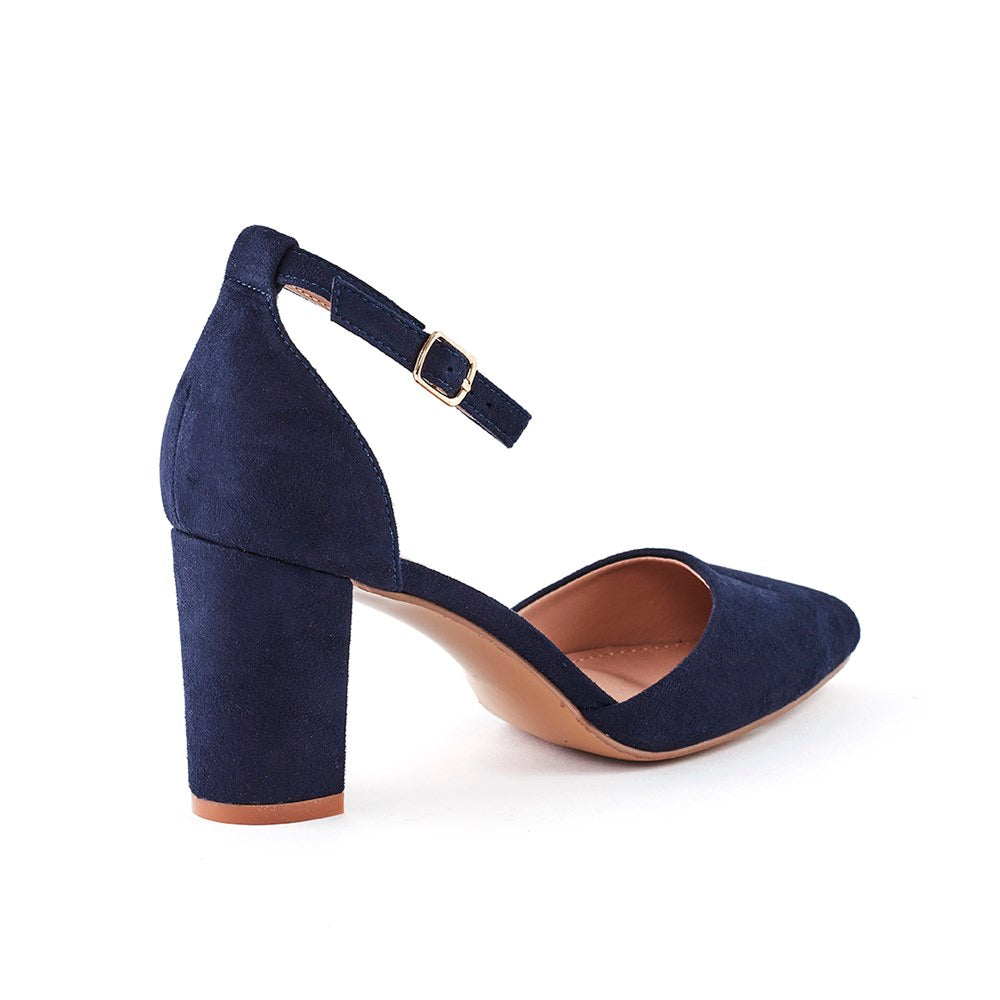 Queue Sophia Block Heel Mary Jane Court - Navy Suede
