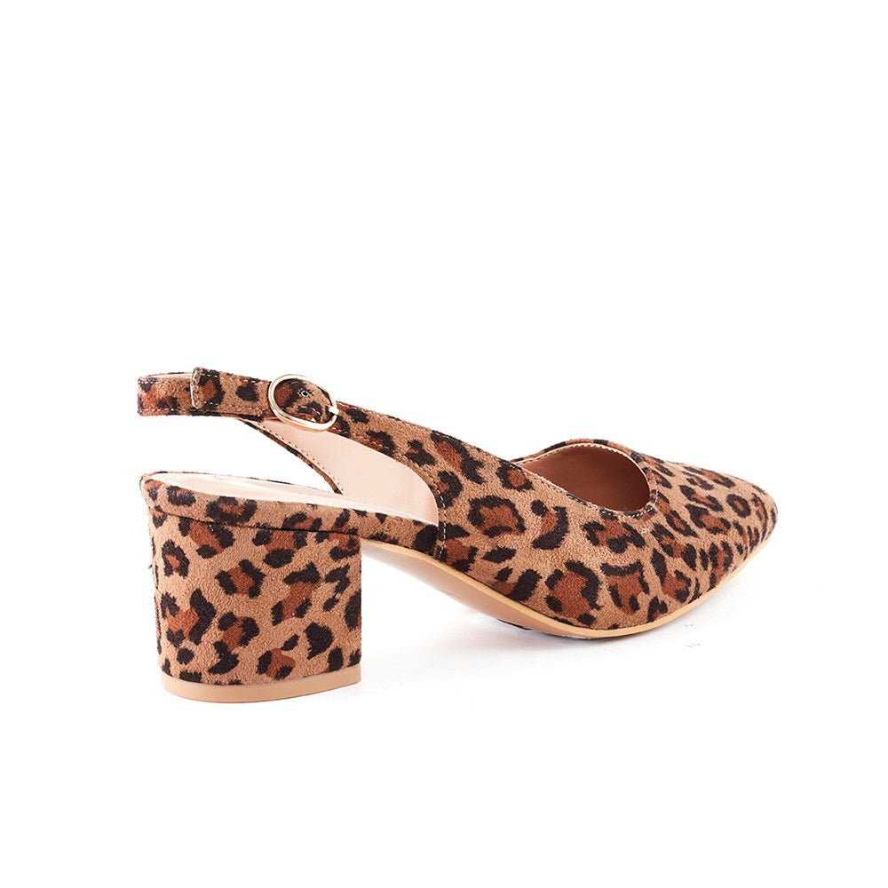 Queue Charlotte Block Heel Sling Back - Leopard