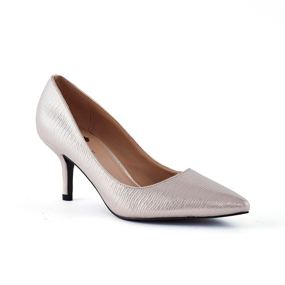 Wild Alice Mila Pointy Court Shoe - Nude Mettalic