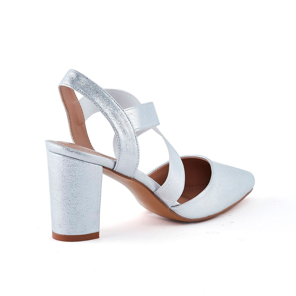 Wild Alice Ella Pointy Block Heel Court Shoe - Silver