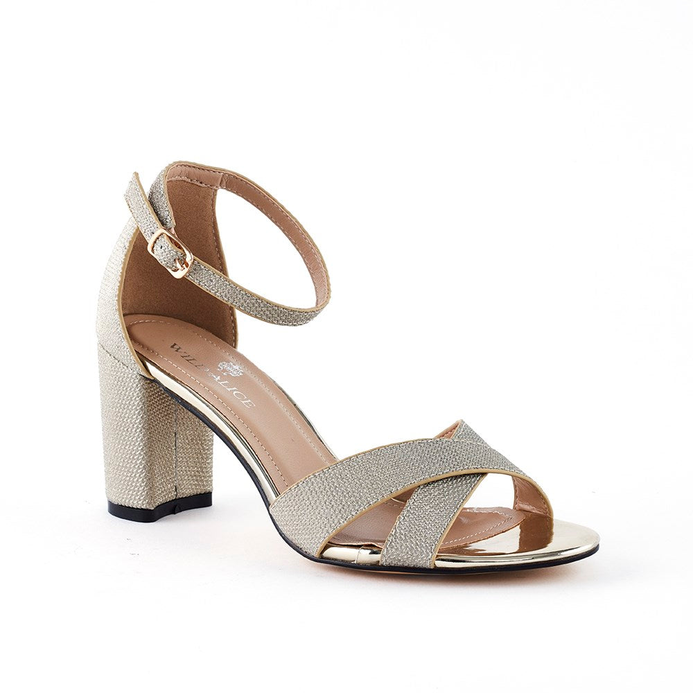 Wild Alice Emily Block Heel Sandal  - Light Gold