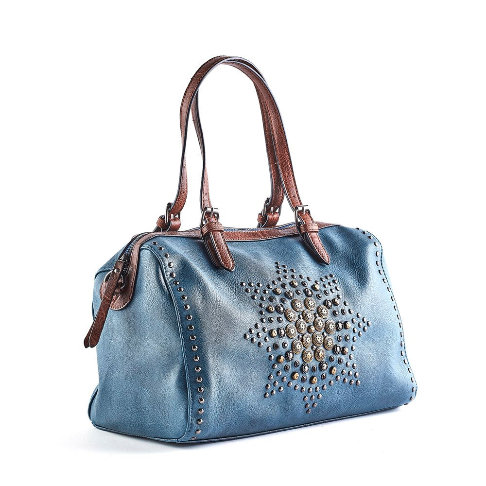 Queue Eleanor Embellished Bowling Bag - Blue