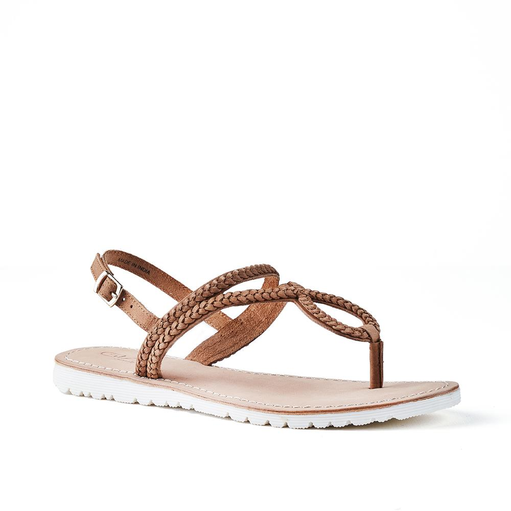 Gia Brooklyn Leather Weave Sandal - Tan