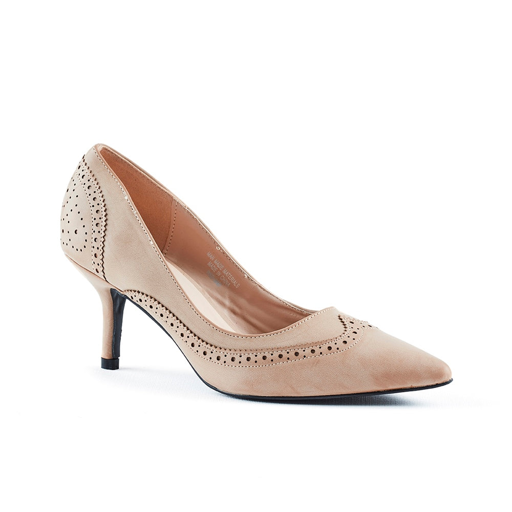 Queue Court With Brogue Detail - Nude