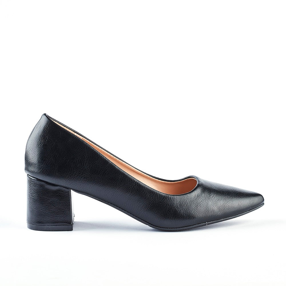 Queue Zoey Point Block Heel Court - Black