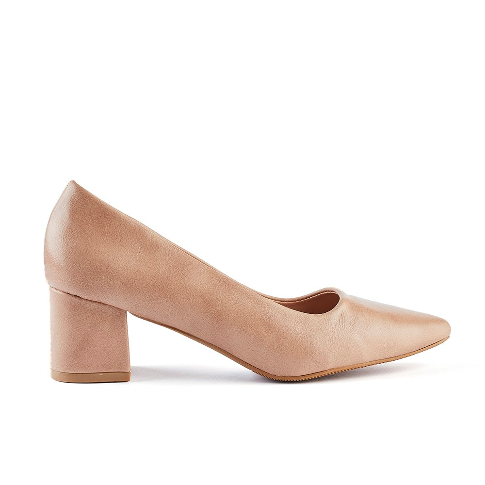 Queue Zoey Point Block Heel Court - Nude
