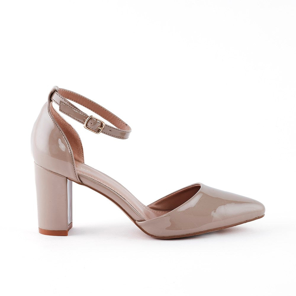 Queue Sophia Block Heel Mary Jane Court - Nude Patent