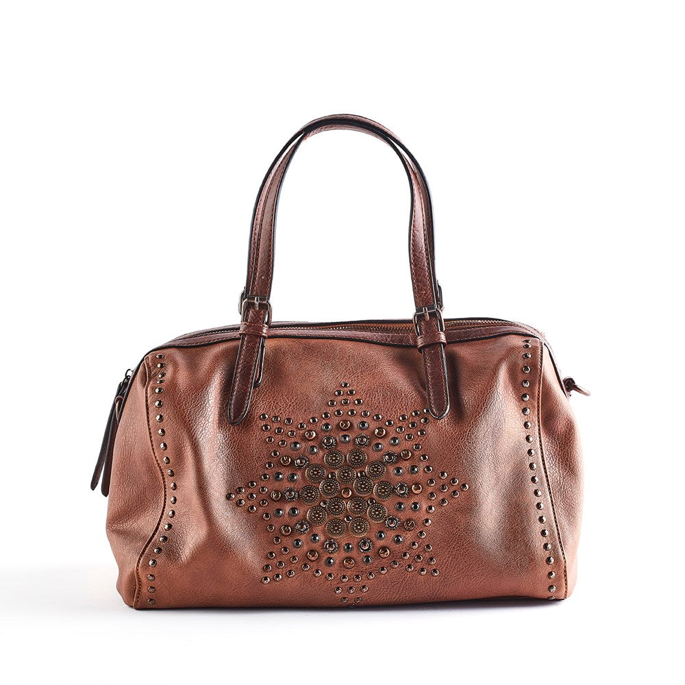 Queue Eleanor Embellished Bowling Bag - Tan