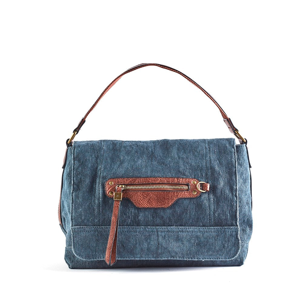 Queue  Canvas Bag With Front Zip Trim - Blue