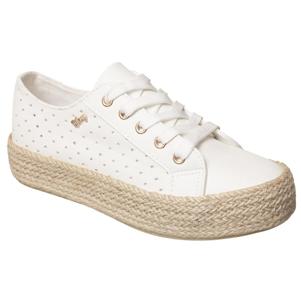 Plum Lace up Espadrille - White