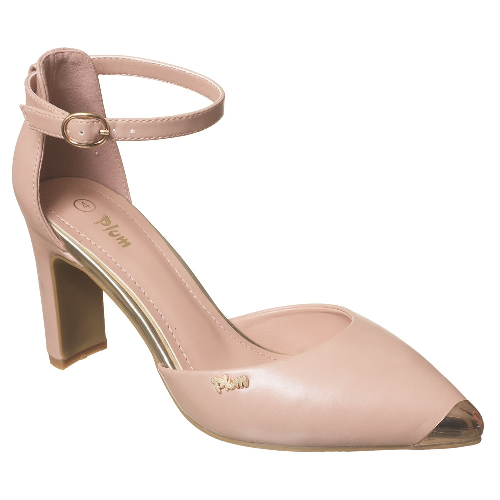 Pointy Block Heel Court With Ankle Strap - Nude