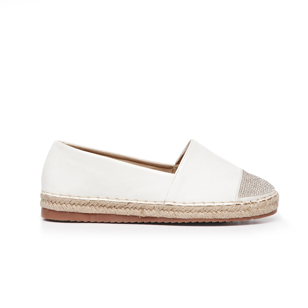 Espadrille With Diamante Toe Cap - White