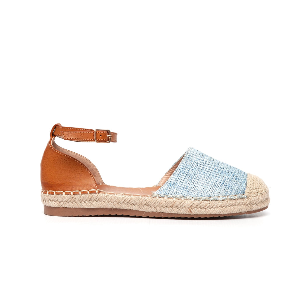 Awol Espadrille Closed To With Ankle Strap - Blue
