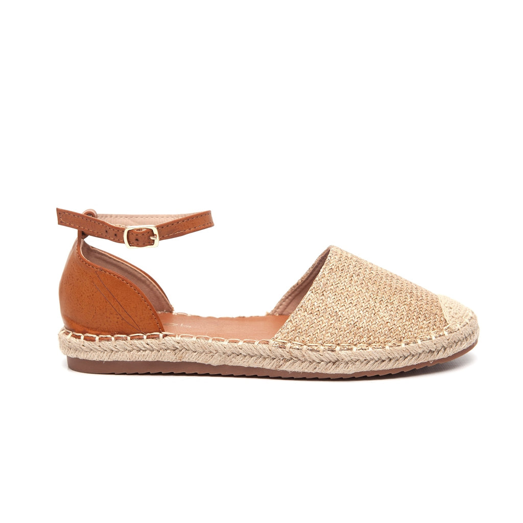 Awol Espadrille Closed To With Ankle Strap - Beige