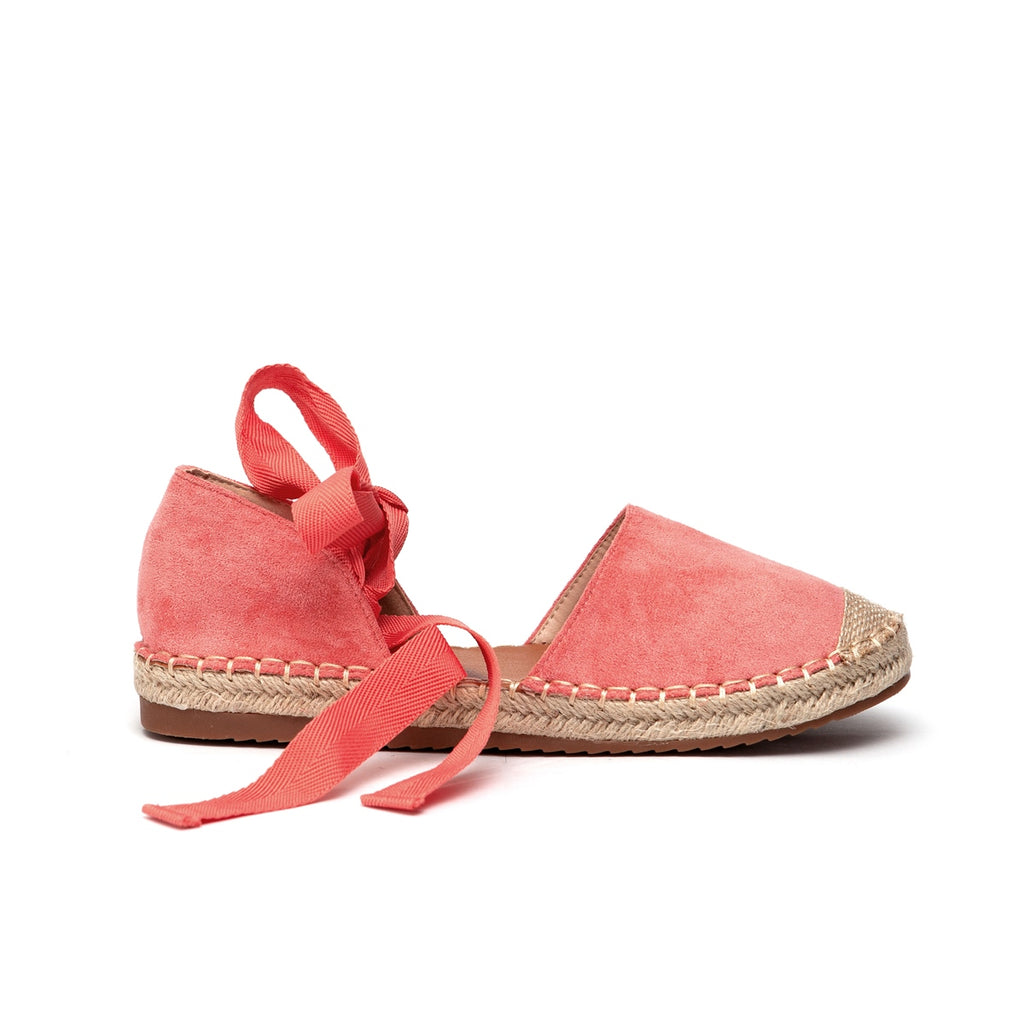 Awol Espadrille Closed To With Ankle Tie - Watermelon