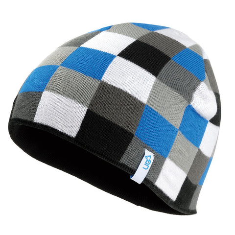 Urban Beach Chequered Beanie Hat - Blue