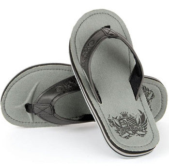 Urban Beach Mens Flip Flops - Badge - Grey