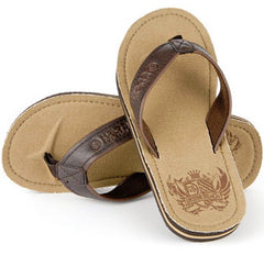 Urban Beach Mens Flip Flops - Badge - Light Brown / Tan