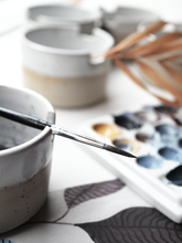 Load image into Gallery viewer, Ceramic cup - with brush holder - made by Sanna Alvtegen