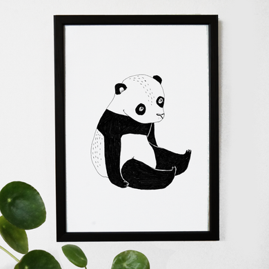 panda, baby panda, panda illustration, black and white print, penguin print, panda art, majasbok, art print, print, line drawing, baby animal, animal print