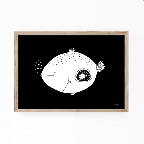 fish, mom, baby fish, fish mom illustration, fish mom print, fish art, majasbok, art print, print, line drawing, animal, animal print