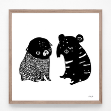 Load image into Gallery viewer, pug and tapir, pug, tapir, baby pug, baby tapir, pug and tapir illustration, pug and tapir print, pug and tapir art, majasbok, art print, print, line drawing, baby animals, animals print
